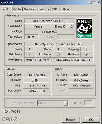 Un AMD Opteron 146 overclocker à 3813 Mhz.