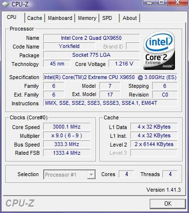 Test du processeur Intel Core 2 QX9650 (Penryn)