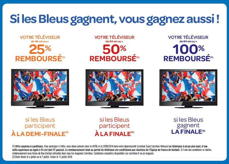 Carrefour, remboursement de TV à 100%