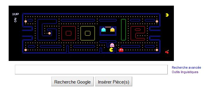 30 ans de PacMan, Page d'accueil de Google