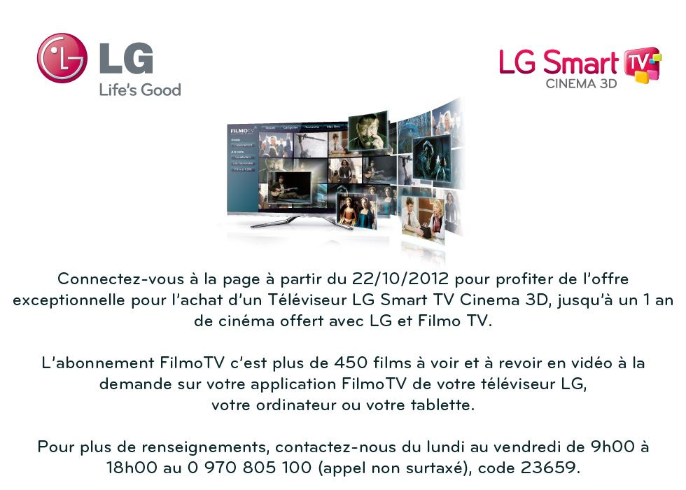 Offre LG Smart TV & Filmo TV