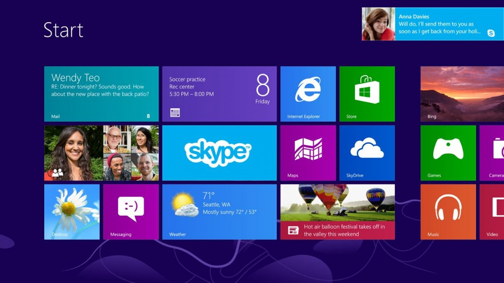 Skype pour Windows 8 - Notifications on Start Screen