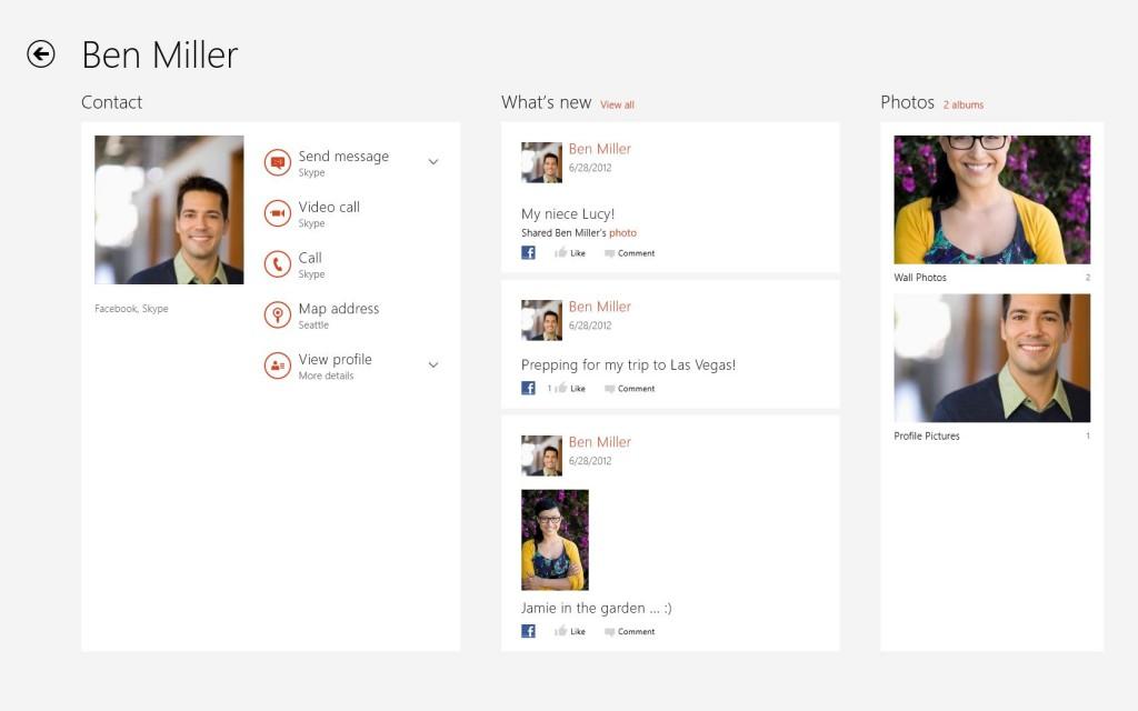 Skype pour Windows 8 - People Hub Integration