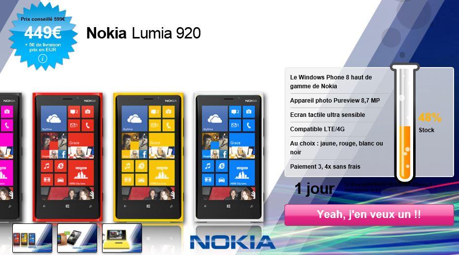 Nokia Lumia 920 (WP8) - Offre QoQa