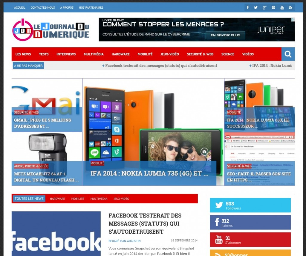 Screenshot Le Journal du Numérique